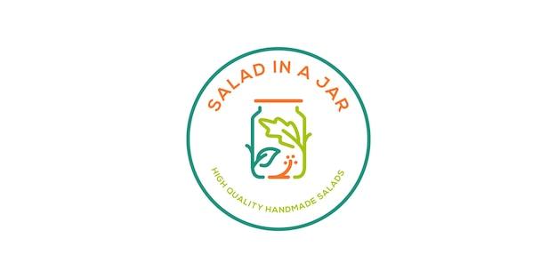 Insalata in un download dell'icona di vettore di logo del barattolo