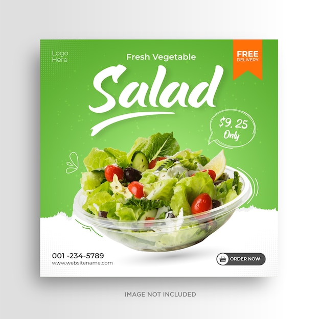 Modello di banner post instagram social media promozione insalata