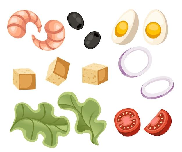 Insalata recip insalata di pesce ingrediente verdure fresche icona del fumetto