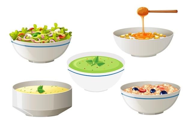 Insalate e zuppe in ciotole bianche