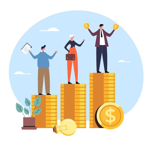 Salario reddito finanza differenza diritti aziendale ingiustizia concetto di pagamento disuguale.