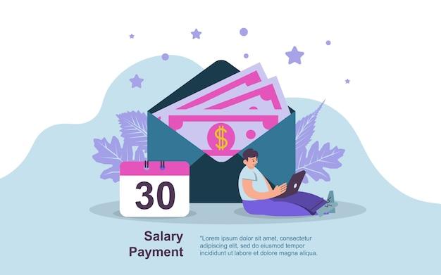 Concetto di pagamento di stipendio, mostrando un giorno lavorativo di pagamento di stipendio del computer portatile funzionante dell'uomo