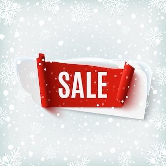 Vendita, banner astratto su sfondo invernale con neve e fiocchi di neve. modello di brochure, poster o flyer. illustrazione.