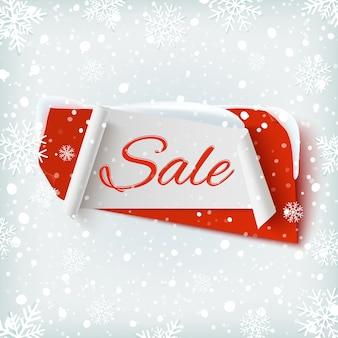 Vendita, banner astratto su sfondo invernale con neve e fiocchi di neve. modello di poster o brochure.