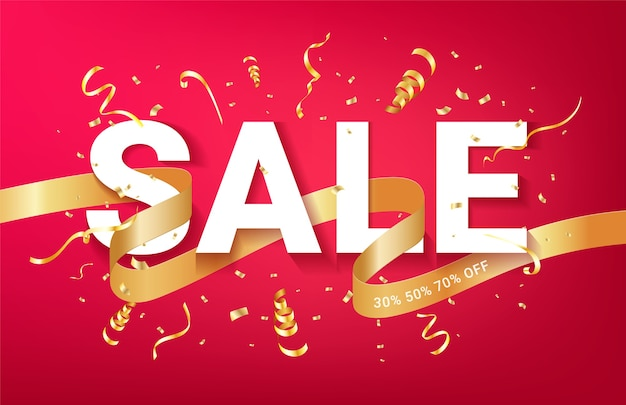 Modello di banner celebrazione annunci di vendita. nastro dorato di coriandoli e glitter. sfondo rosso evento festivo. Vettore Premium