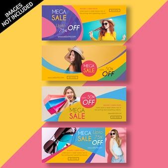 Modello di design piatto banner di vendita e pubblicità