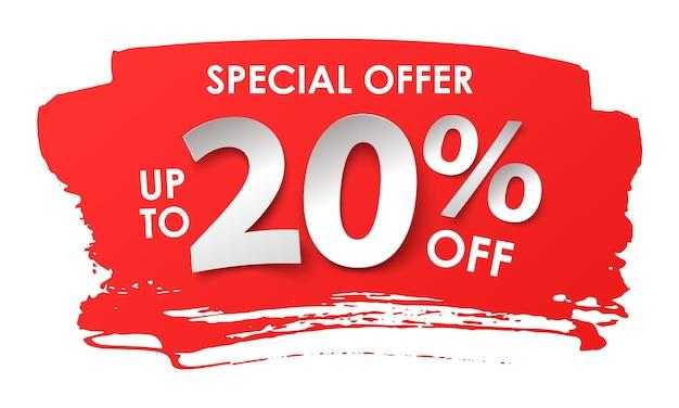 Annuncio di vendita. sconto del 20 percento in stile cartaceo. illustrazione vettoriale con un'ombra realistica