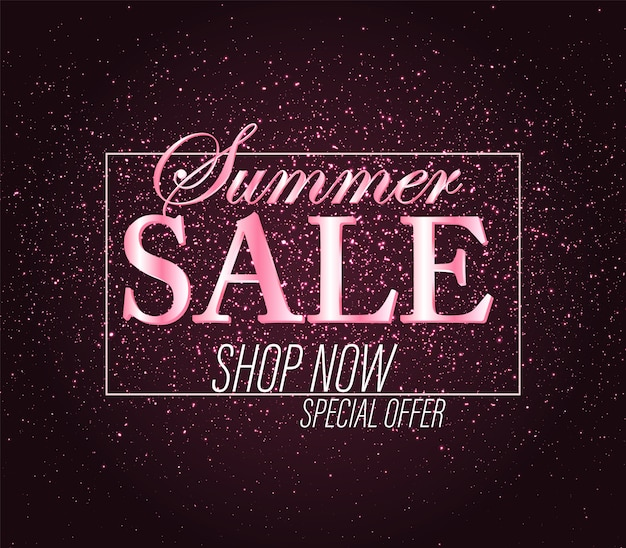 Sfondo di vendita. banner glitter oro rosa. sfondo splendente. segno di vendita. coriandoli splendenti.