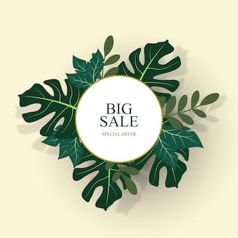 Sfondo di vendita con foglie tropicali illustrazione vettoriale