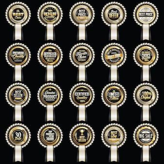 Distintivo di vendita. distintivi di vendita di lusso isolati sul nero