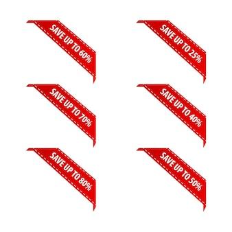 I badge di vendita etichettano i nastri e gli striscioni dell'angolo rosso del prodotto
