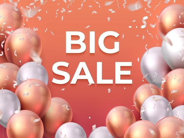 Banner di palloncino in vendita. negozio di flyer di moda, promozione speciale per feste, poster di palloncini volanti. vendita 3d realistica