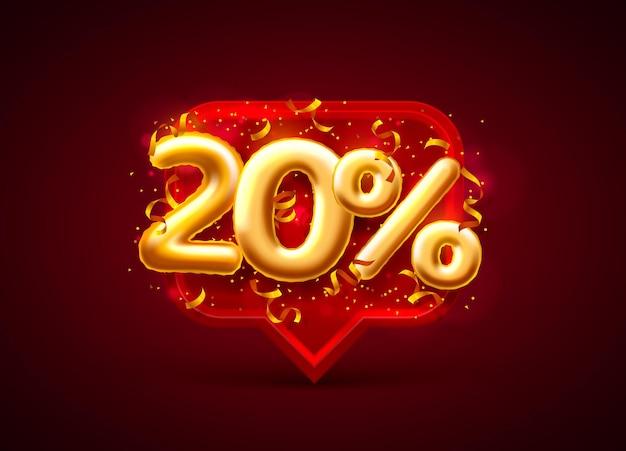 Banner di vendita 20% di sconto sul numero di palloncini sul rosso