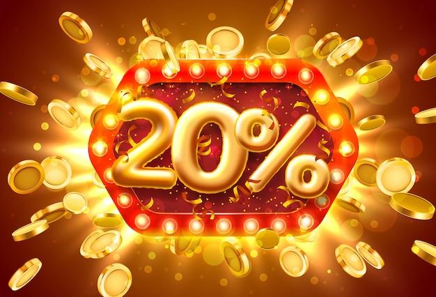 Banner di vendita 20% di sconto sui numeri con monete che volano