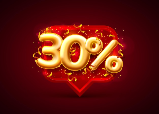 Banner di vendita 30% di sconto sul numero di palloncini sul rosso