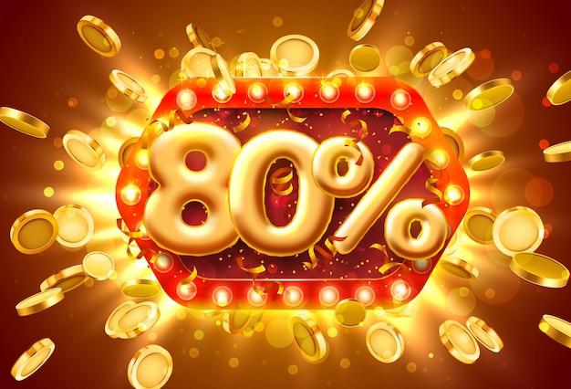 Banner di vendita 80% di sconto sui numeri con monete che volano