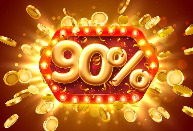 Banner di vendita 90% di sconto sui numeri con monete che volano
