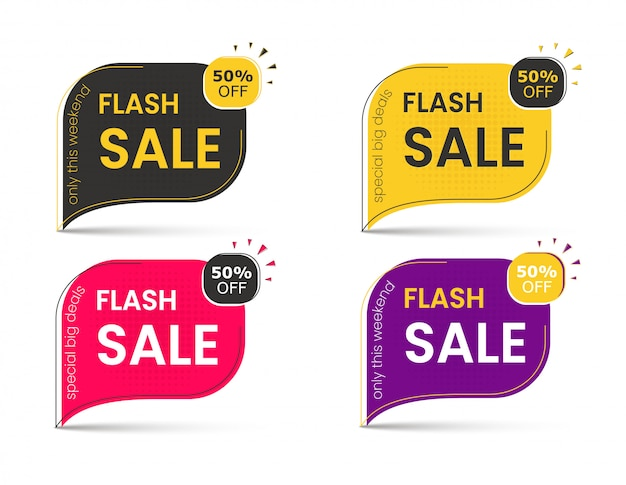 Banner di vendita di grandi sconti, adesivo 50, tag pubblicitari per offerte speciali.