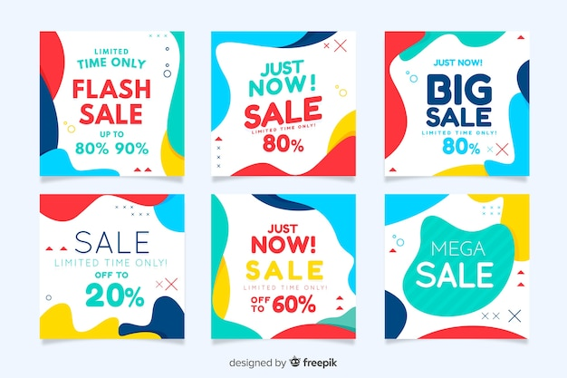 Collezione di banner in vendita per social media Vettore Premium