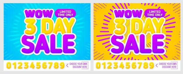 Banner di vendita su sfondo colorato solo 3 giorni