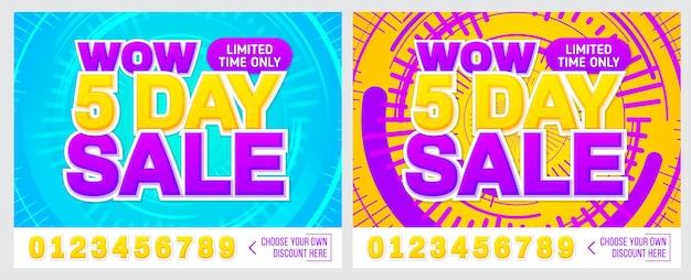 Banner di vendita su sfondo colorato solo 5 giorni