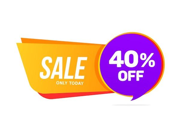 Offerta di sconto banner di vendita. grande vendita 40 percento di sconto sul modello di vendita del poster.