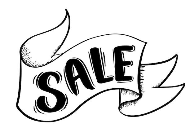 Stile di disegno di banner di vendita per la vendita di pubblicità promozionale.