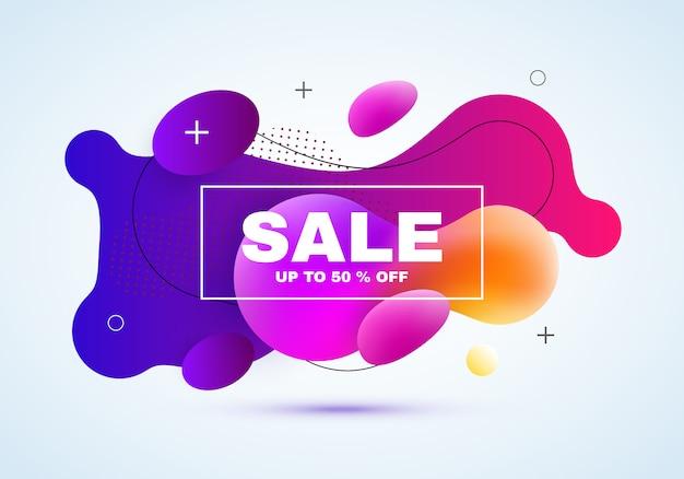 Banner di vendita. forma a gradiente fluido con sconto