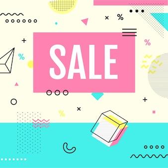 Banner di vendita stile memphis con forme geometriche in colori pastello.