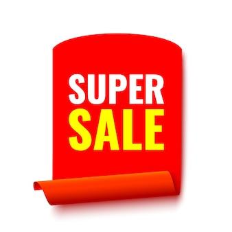 Banner di vendita. nastro rosso realistico. rotolo di carta. illustrazione.