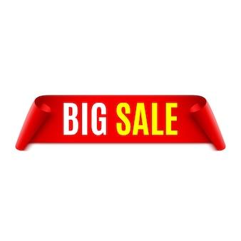 Banner di vendita. fiocco rosso. illustrazione.