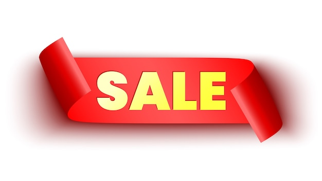 Banner di vendita. nastro rosso su sfondo bianco. rotolo di carta.
