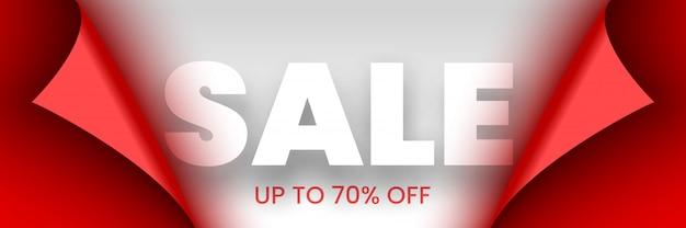 Banner di vendita. nastro rosso con bordi curvi su sfondo bianco. etichetta. illustrazione.