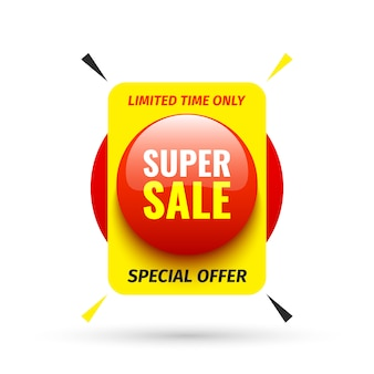 Banner di vendita. pulsante tondo rosso. illustrazione.