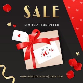 Banner di vendita. vendita e sconti. banner con nastri, fiocchi, scatole regalo