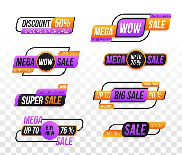 Banner di vendita. offerta speciale, sconto, miglior prezzo, mega, grande vendita, set di banner.