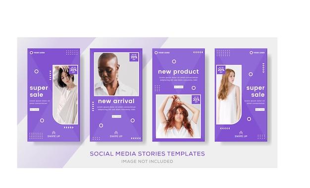 Modello di post di storie di banner di vendita per il vettore premium di social media