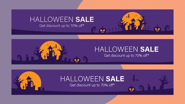 Modello di banner di vendita per celebrare halloween