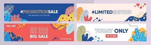 Collezione di modelli di banner di vendita per la vendita promozionale con un concetto colorato naturale