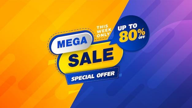 Design del modello di banner di vendita, grande vendita speciale fino all'80% di sconto. super saldi, banner di offerta speciale di fine stagione. mega vendita