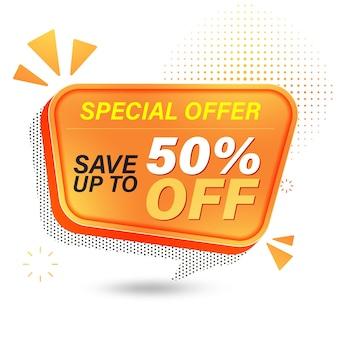 Design del modello di banner di vendita, offerta speciale di vendita risparmia fino al 50%.