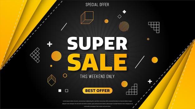 Progettazione del modello di banner di vendita con forme geometriche, offerta speciale di grande vendita. super saldi, banner di offerta speciale di fine stagione.