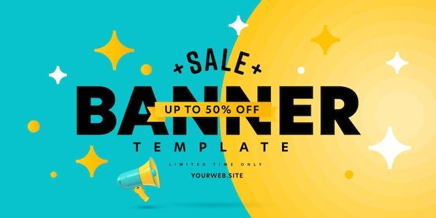 Modello di banner di vendita che offre un'offerta per risparmiare fino al 50 percento.