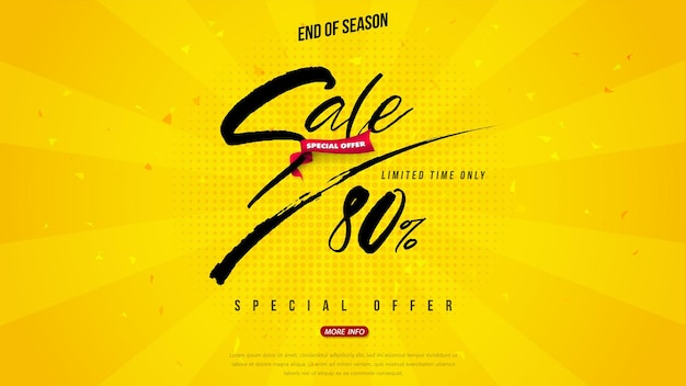 Vendita banner tipografia pennello design, grande vendita speciale fino all'80% di sconto. super saldi, banner di offerta speciale di fine stagione.