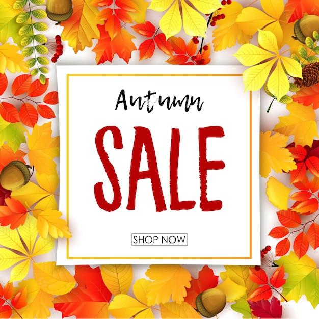 Banner di vendita con foglie d'autunno