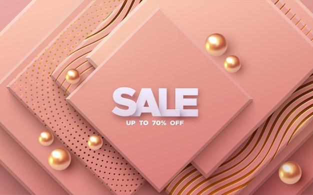 Banner di vendita con strati quadrati rosa corallo e sfere dorate