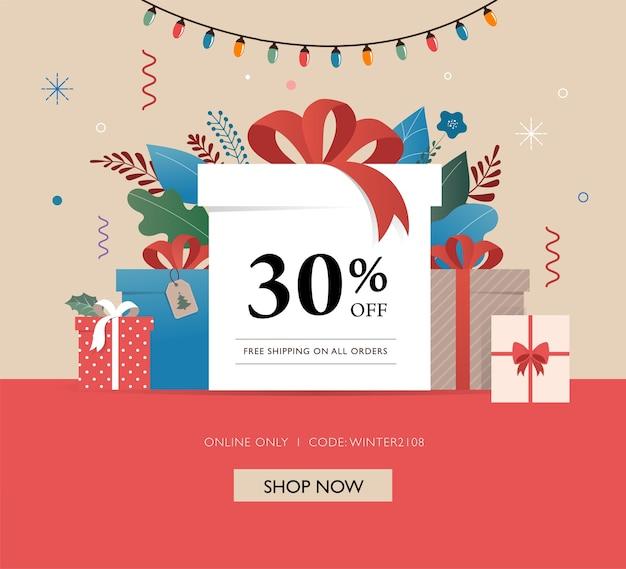Banner di vendita con scatole regalo e decorazioni natalizie