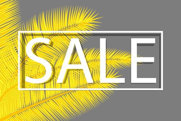 Banner di vendita con foglie di palma. sfondo floreale tropicale. progettazione astratta della copertura di colori gialli e grigi.