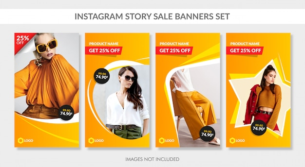 Banner di vendita impostati per la storia e il web di instagram