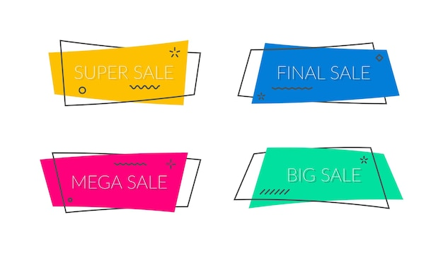 Vendita banner forma vettoriale promo nastri e tag promozione adesivo moderno sconto bolla